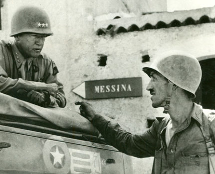 Patton with officer on Sicily, July 1943