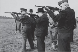 Eisenhower, Churchill, and Bradley fire M1 carbines