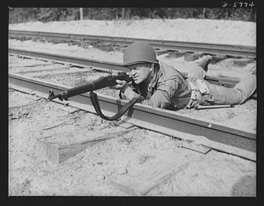 Prone GI aiming M1 Garand