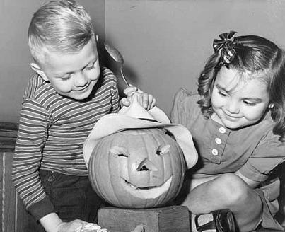 WWII kids with Jack O' Lantern