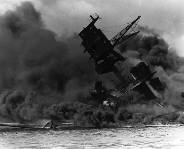 USS Arizona burns on December 7 1941 after Japanese attack