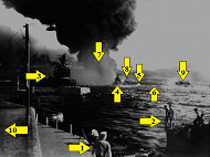 Arrows label the astounding action in this photo of the Pearl Harbor attack at 9 AM