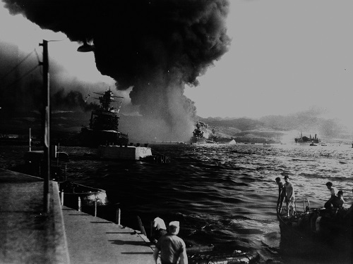 9 a.m. on Battleship Row, Pearl Harbor, December 7, 1941