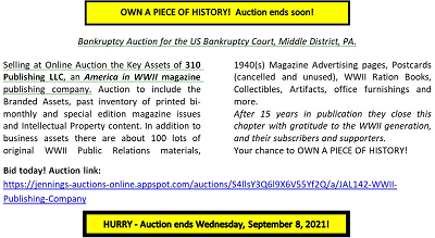 AMERICA IN WWII auction notice
