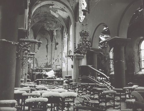 Inside a bombed-out church