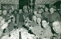 GIs and Soviets toast their meeting at the Elbe River