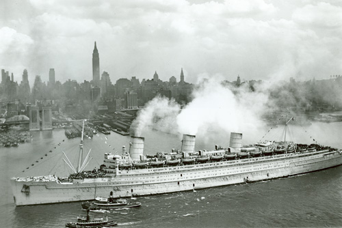 The Queen Mary in New York Harbor in June 1945