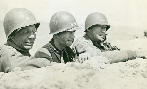 Patton, Terry Allen, and Theodore Roosevelt, Jr., in Tunisia