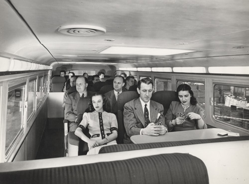 Passengers on a Greyhound bus