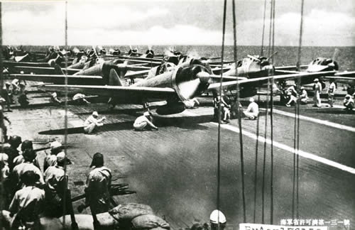 Japanese zeroes on a flight deck