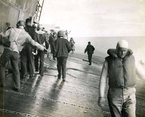 The deck of the listing Yorktown at Midway